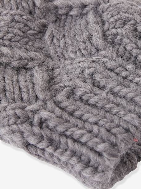 Cable Knit Beanie with Pompom, for Girls GREY MEDIUM SOLID+PINK LIGHT SOLID - vertbaudet enfant