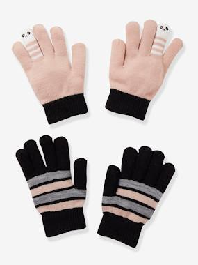 Girls-Accessories-Winter Hats, Scarves, Gloves & Mittens-Pack of 2 Pairs of Striped & Playful Gloves for Girls