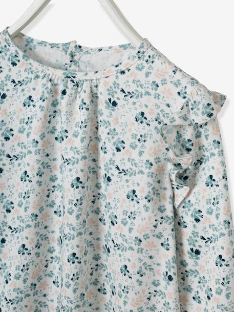 Blouse with Ruffles for Girls WHITE LIGHT ALL OVER PRINTED - vertbaudet enfant