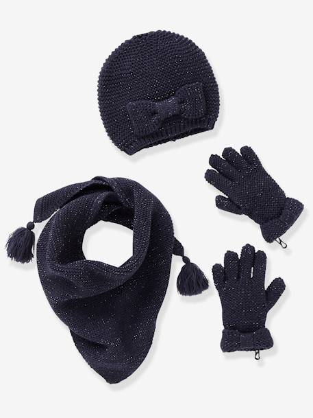 Girls' Hat, Scarf& Mittens or Gloves Set BLUE DARK SOLID+GREY MEDIUM SOLID+PINK MEDIUM SOLID+RED DARK SOLID - vertbaudet enfant