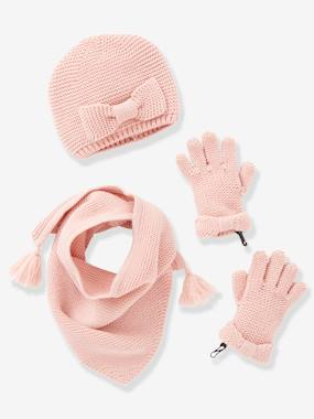 Collection Vertbaudet-Ensemble fille bonnet + écharpe + moufles ou gants