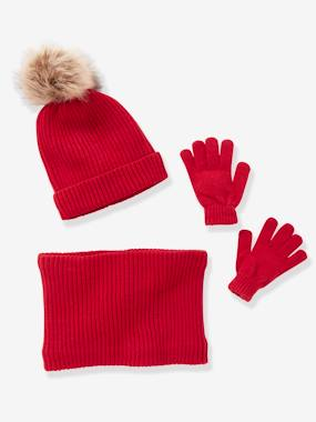 Fille-Ensemble fille bonnet + snood + moufles/gants