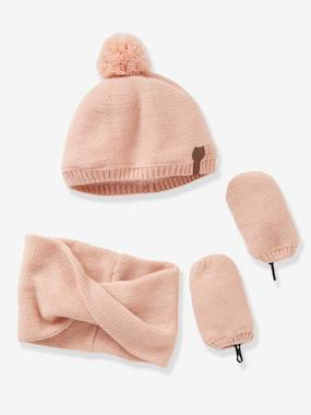 accessories girl boy baby-Baby Girls' Iridescent Beanie, Snood & Mittens Set, Lined