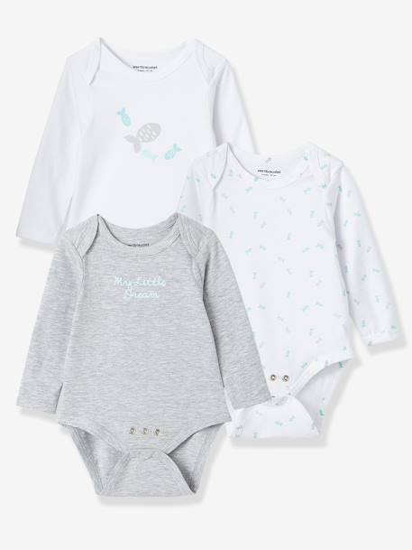 Baby Pack of 3 Adaptable Bodysuits, Stretch Cotton, Long Sleeves. Fish Motif GREY LIGHT TWO COLOR/MULTICOL+Pale pink+PURPLE DARK 2 COLOR/MULTICOLOR+Sea green - vertbaudet enfant