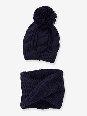 Girls-Accessories-Winter Hats, Scarves, Gloves & Mittens-Beanie with Pompom + Crossover Snood Set, for Girls