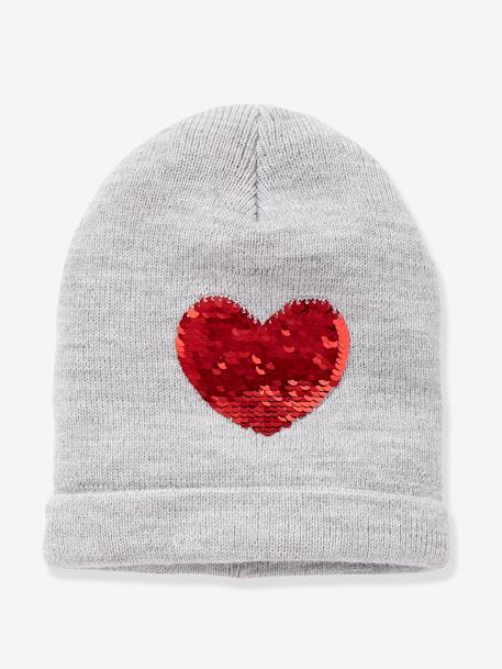 Beanie with Reversible Sequins, for Girls BLUE DARK SOLID+GREY LIGHT MIXED COLOR - vertbaudet enfant
