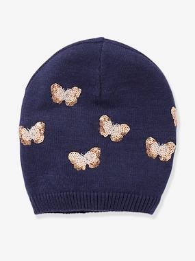 Girls-Accessories-Winter Hats, Scarves, Gloves & Mittens-Beanie with Sequinned Butterflies, for Girls