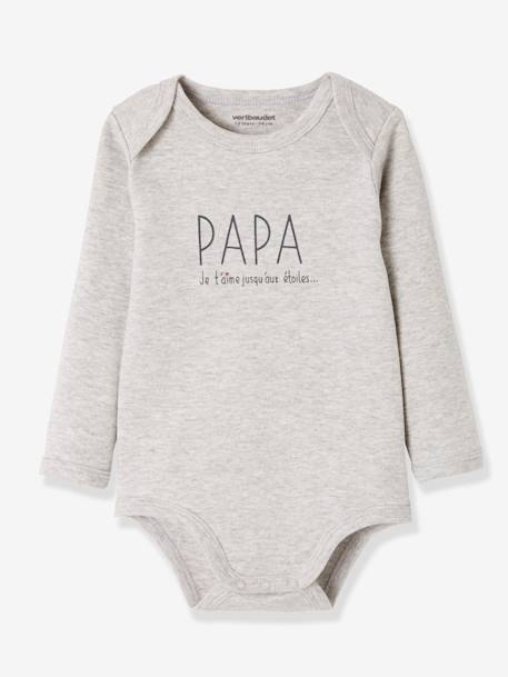 Pack of 2 Long-Sleeved Bodysuits for Babies, 'papa/maman' (Daddy/Mummy) GREY LIGHT TWO COLOR/MULTICOL - vertbaudet enfant