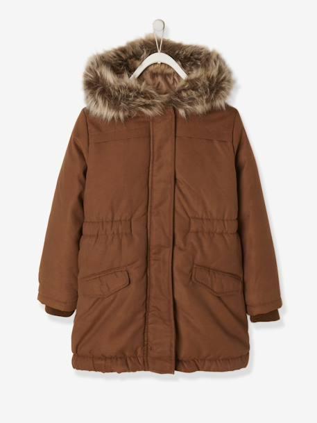 2b2ab4188c 3-in-1 Parka with Motif on the Back, for Girls - brown medium solid with  design, Girls
