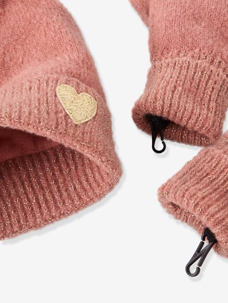 Set for Girls: Beanie + Scarf + Gloves with Details in Shimmery Yarn BEIGE LIGHT SOLID+GREY DARK SOLID+PINK BRIGHT MIXED COLOR - vertbaudet enfant