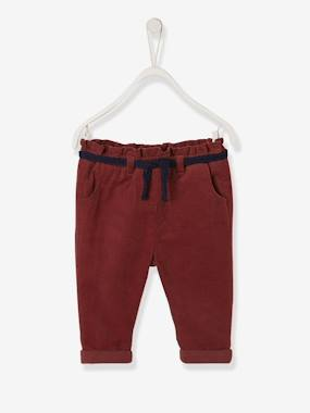Baby-Trousers & Jeans-Corduroy Trousers for Baby Girls, Lined