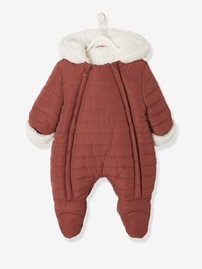 Baby-Outerwear-Snowsuits-Padded Pramsuit, Faux Fur Lining, for Babies