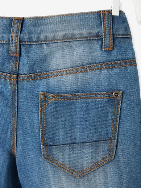 Indestructible Straight Leg Jeans with Polar Fleece Lining, for Boys BLUE DARK SOLID+BLUE DARK WASCHED - vertbaudet enfant
