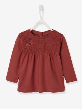 Baby-T-shirts & Roll Neck T-Shirts-T-shirts-Smocked Top with Embroidered Details, for Baby Girls