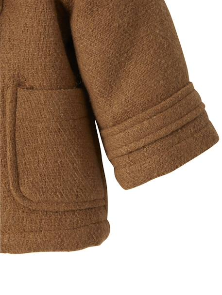 Woollen Fabric Duffle Coat, Lined and Padded, for Babies BROWN MEDIUM SOLID - vertbaudet enfant