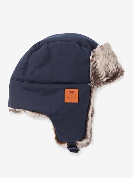 Faux Fur Chapka Hat for Boys BLUE DARK SOLID - vertbaudet enfant