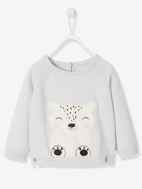 Baby-Jumpers, Cardigans & Sweaters-Knitted Jumper with Arctic Animal, for Newborn Babies
