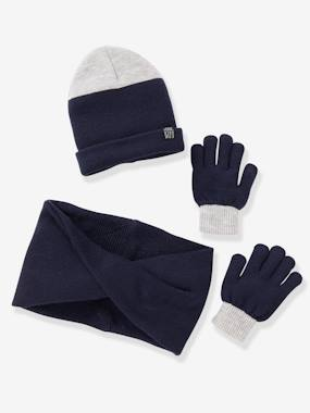 Boys-Accessories-Winter Hats, Scarves & Gloves-Two-tone Beanie + Snood + Gloves, for Boys