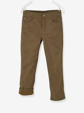 Boys-Indestructible Straight Leg Trousers with Fleece Lining, for Boys