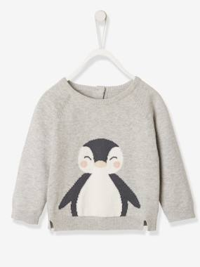 Baby-Jumpers, Cardigans & Sweaters-Knitted Jumper with Penguin, for Newborn Babies