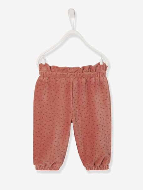 Smooth Trousers in Velour for Newborn Baby PINK DARK ALL OVER PRINTED - vertbaudet enfant