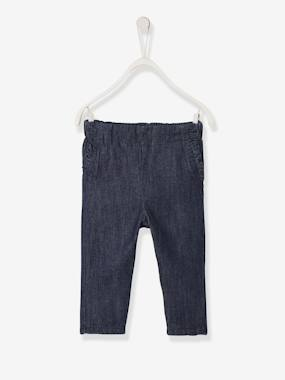 Baby-Trousers & Jeans-Jeans for Baby Girls, Elasticated Waistband