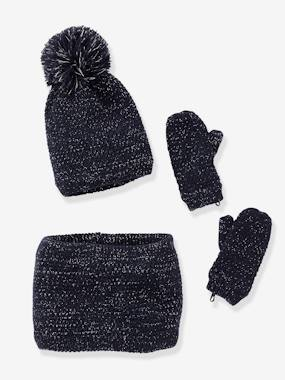 Girls-Accessories-Winter Hats, Scarves, Gloves & Mittens-Beanie + Snood + Mittens Set for Girls