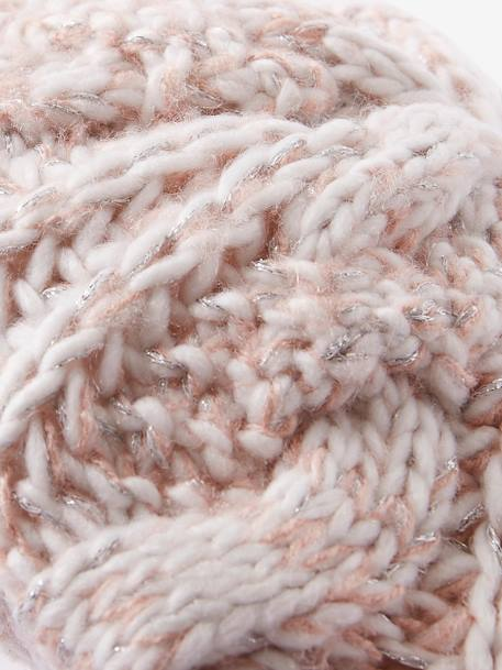 Knitted Beret in Shimmery Yarn, for Girls BLUE DARK SOLID+PINK LIGHT SOLID - vertbaudet enfant