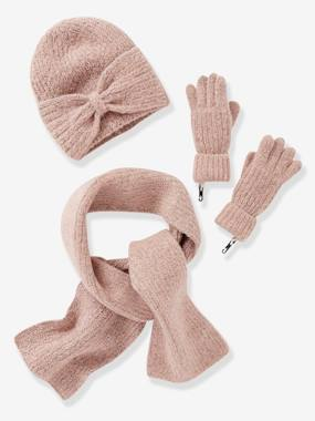 Girls-Accessories-Winter Hats, Scarves, Gloves & Mittens-Set for Girls: Beanie with Bow + Scarf + Gloves in Shimmery Yarn