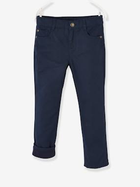 Vertbaudet Collection-Indestructible Straight Leg Trousers with Fleece Lining, for Boys