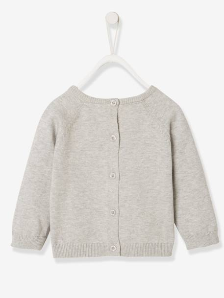 Knitted Jumper with Arctic Animal, for Newborn Babies BLUE LIGHT SOLID WITH DESIGN+GREY LIGHT MIXED COLOR - vertbaudet enfant