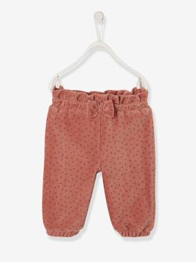 Baby-Trousers & Jeans-Smooth Trousers in Velour for Newborn Baby