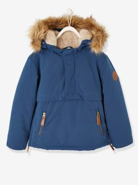 Vertbaudet Collection-Boys-Parka with Hood & Sherpa Lining, for Boys