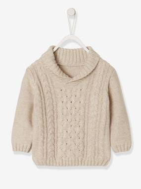 Baby-Jumpers, Cardigans & Sweaters-Cable-Knit Jumper with Shawl Collar, for Baby Boys