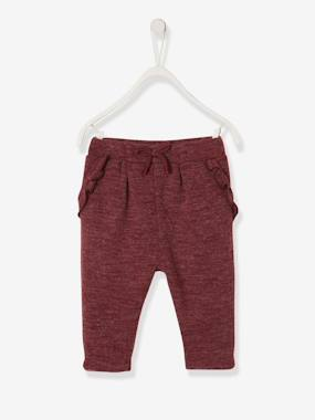Baby-Trousers & Jeans-Trousers for Baby Girls in Marl Jersey Knit