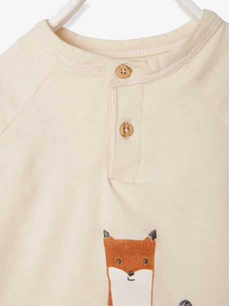 2-in-1 Bodysuit Top with Fox, for Newborn Babies BEIGE LIGHT SOLID WITH DESIGN - vertbaudet enfant