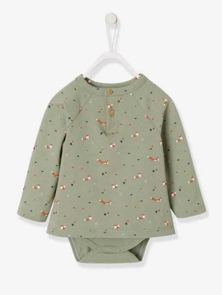 2-in-1 Bodysuit Top with Fox, for Newborn Babies BEIGE LIGHT SOLID WITH DESIGN+GREEN LIGHT ALL OVER PRINTED - vertbaudet enfant