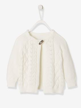 Baby-Jumpers, Cardigans & Sweaters-Cardigans-Cable-Knit Cardigan, for Baby Girls
