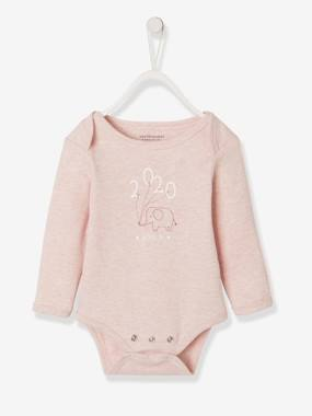 Baby-Bodysuits & Sleepsuits-Long-Sleeved Bodysuit with Elephant Motif for Babies