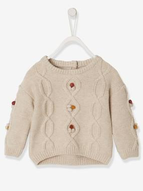 Baby-Jumpers, Cardigans & Sweaters-Cable-Knit Jumper with Pompons, for Baby Girls
