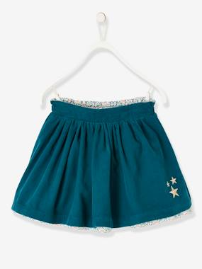 Vertbaudet Collection-Girls-Skirts-Reversible Skirt in Corduroy/Flower Print, for Girls