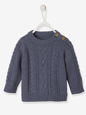 Baby-Jumpers, Cardigans & Sweaters-Cable-Knit Jumper, for Baby Boys