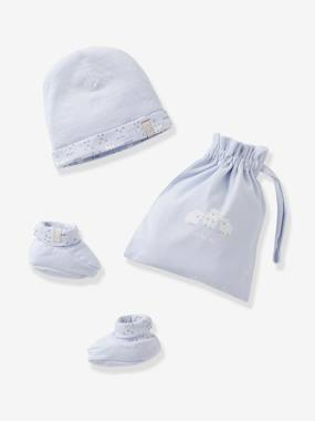Baby-Hats & Accessories-Beanie & Booties + Pouch, for Newborn Babies