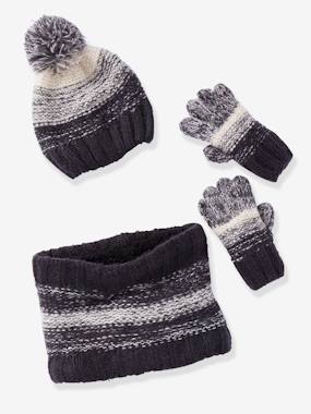 Boys-Accessories-Winter Hats, Scarves & Gloves-Fancy Knit Beanie + Snood + Gloves Set, for Boys