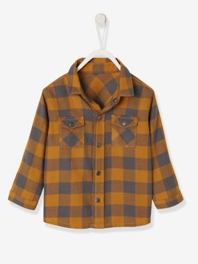Baby-Blouses & Shirts-Checked Flannel Shirt, for Baby Boys