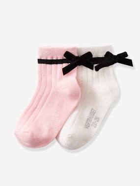 Girls-Underwear-Pack of 2 Pairs of Socks with Bow, for Girls