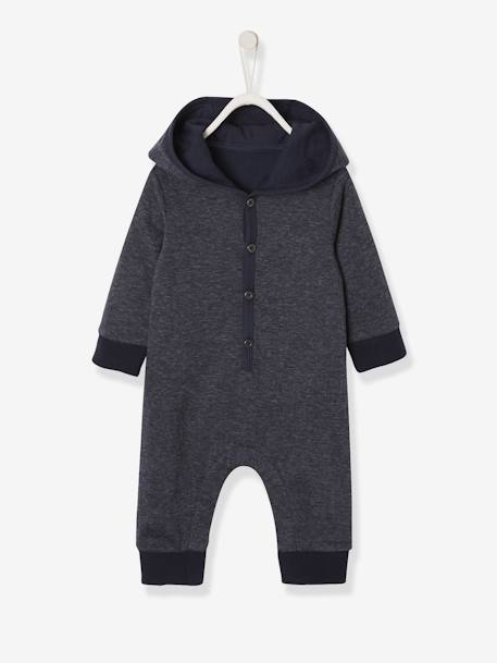Jumpsuit with Hood, for Baby Boys GREY DARK MIXED COLOR - vertbaudet enfant