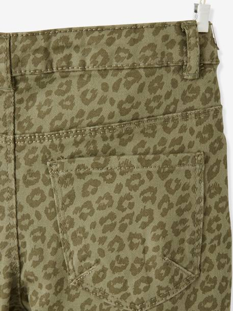 Slim Leg Trousers, Leopard Print, for Girls GREEN DARK ALL OVER PRINTED - vertbaudet enfant