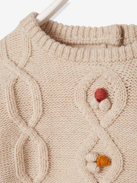 Cable-Knit Jumper with Pompons, for Baby Girls BEIGE MEDIUM MIXED COLOR - vertbaudet enfant