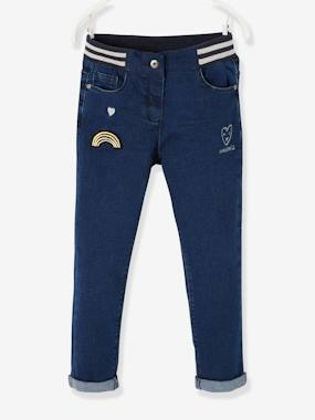 Vertbaudet Collection-Girls-Trousers-Straight Leg Jeans for Girls, with Patches & Embroidery, Designed for Autonomy
